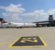 Lufthansa CRJ9 on the tarmac.